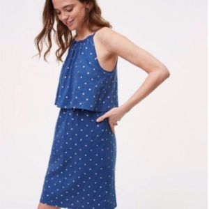 LOFT | Blue Cotton dress with gold polka dots